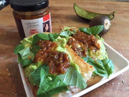 Zingy Tomato Crunch with Mashed Avocado