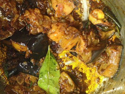 Coriander Aubergines with Eggplant Kasaundi
