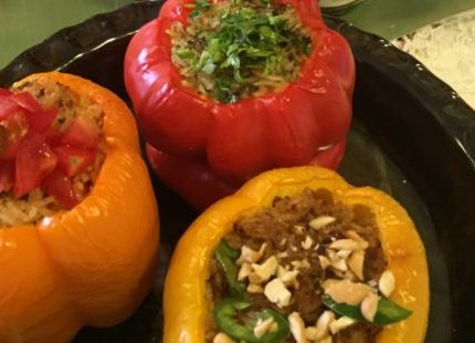 Capsicum Filled with Fried Chutney Rice