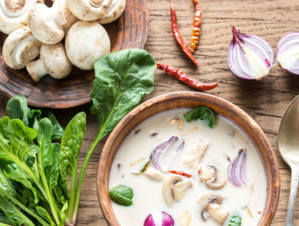 Thai Green Chicken Broth with Mushrooms