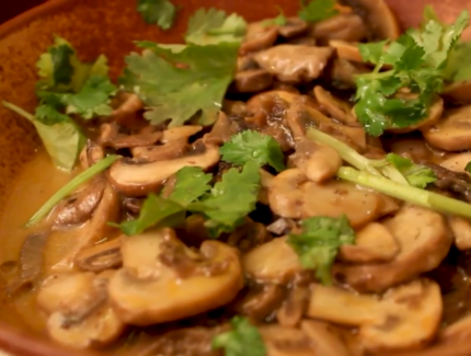 Mushrooms with Eggplant Kasaundi Chutney (Video)