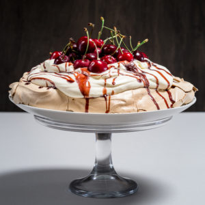 Cherry Choc Pavlova drizzled with Cherry Chocolate Dessert Sauce