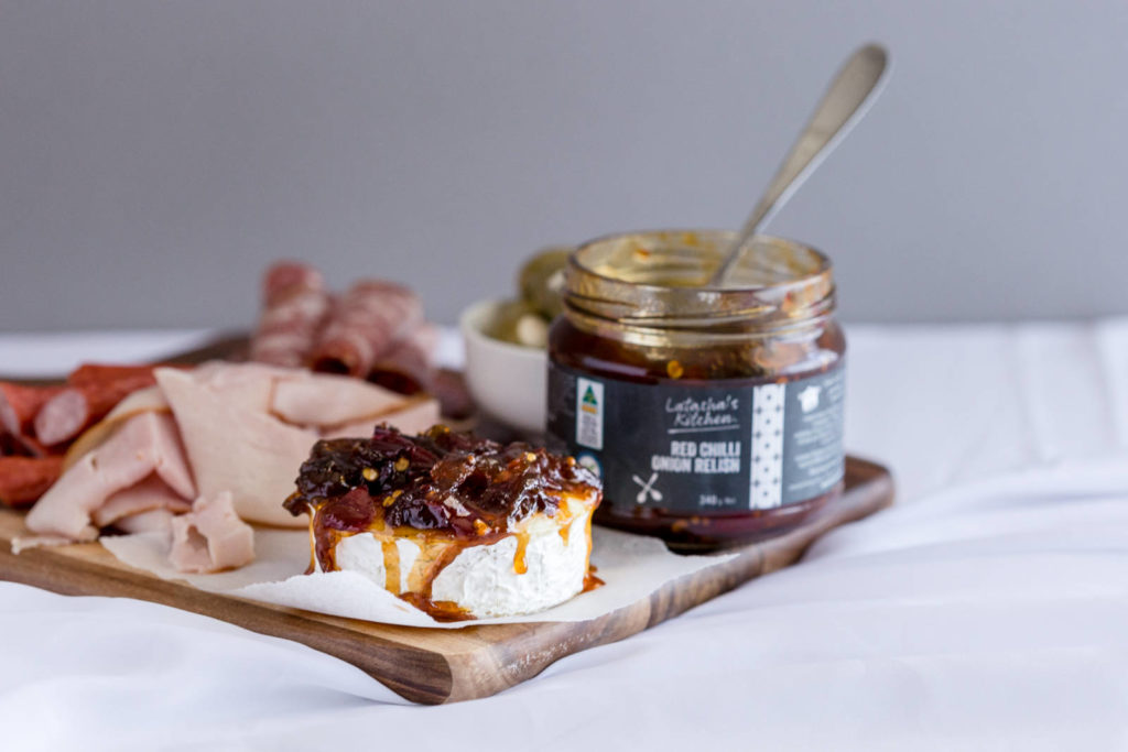Red Chilli Onion Relish on Brie