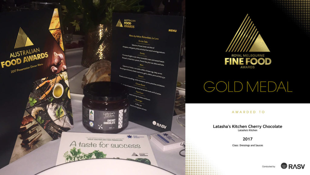 Latasha's Kitchen products recognised_AFA Awards 2017_Gold Medal Certificate