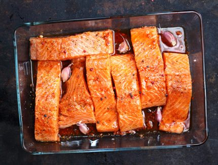 Chilli Oil Glazed Salmon with ACV