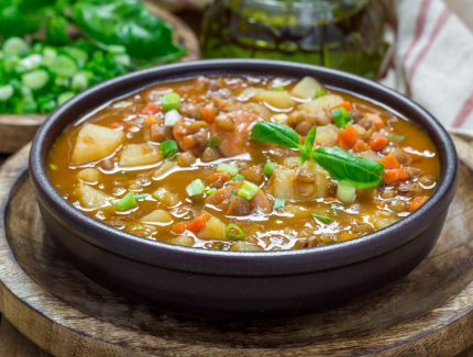 Madras Hot Pot Stew with Vegetables, Lentils and Beef Mince