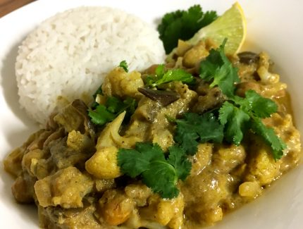 Cauliflower, Eggplant and Chickpea Curry