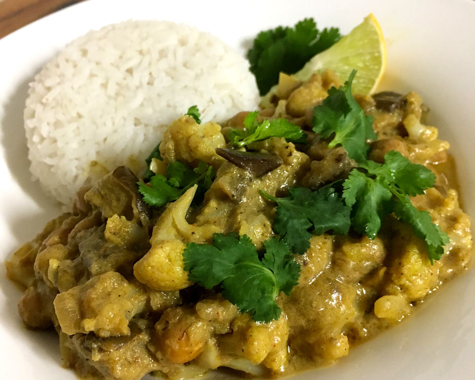Cauliflower Eggplant Chickpea Curry