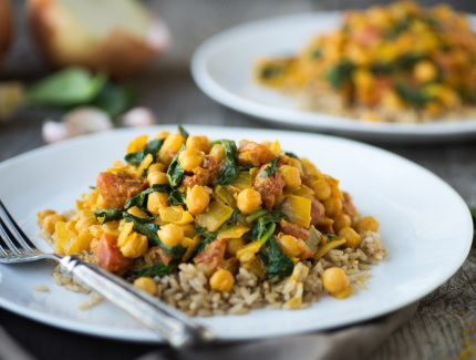 Coconut Chickpea Korma with Roast Veggies