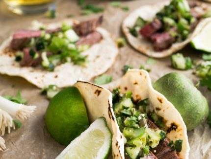 Mexican Flank Tacos with Simple Guacamole