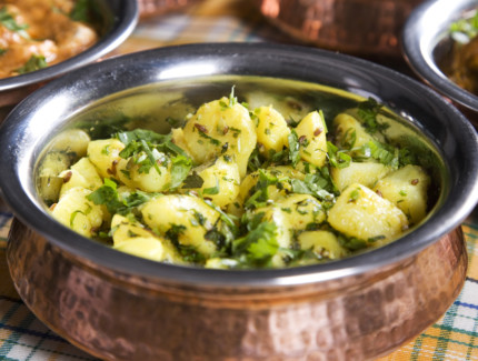 Potatoes in Green Coriander Mint Sauce