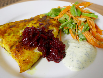 Turmeric Spiced Barramundi with Beetroot Horseradish Relish