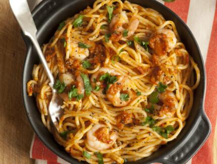 Chilli Pasta with Garlicky Prawns and Spicy Chorizo